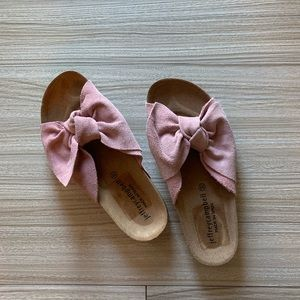 Jeffrey Campbell suede bow slides